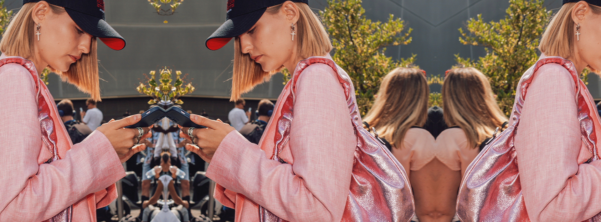 Social media celebs and models dressed in bright leather colors eat the first Fashion Week after the pandemic times.